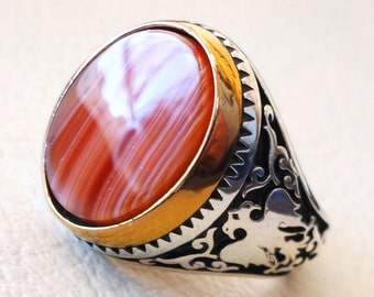 multi color agate aqeeq huge sterling silver 925 men ring vintage arabic turkish style all sizes two headed eagle bronze frame fast shipping