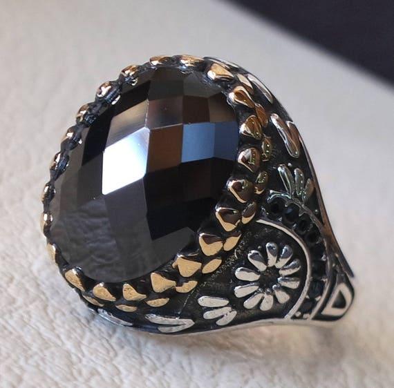 Ciondolo  donna argento ONICE NERA SFACCETTATA OVALE  con zirconi stile antico