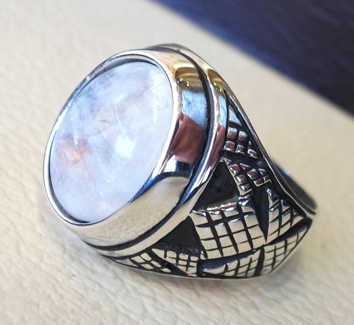 Blue flashy natural moon stone cabochon stone 925 sterling silver ring