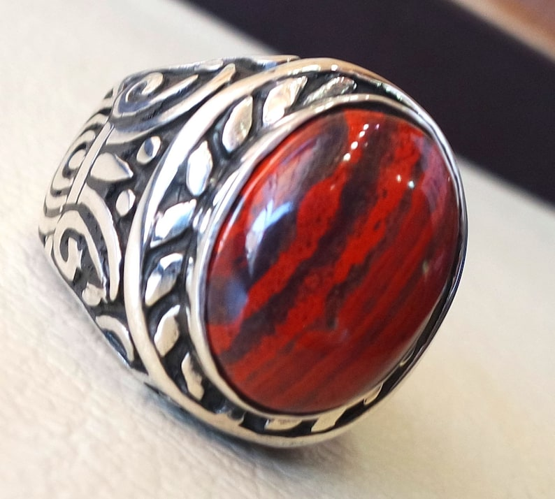 b5db6a4f18a01 snake skin jasper stone natural gem sterling silver 925 ring red and black  oval semi precious cabochon man huge ring jewelry fast shipping