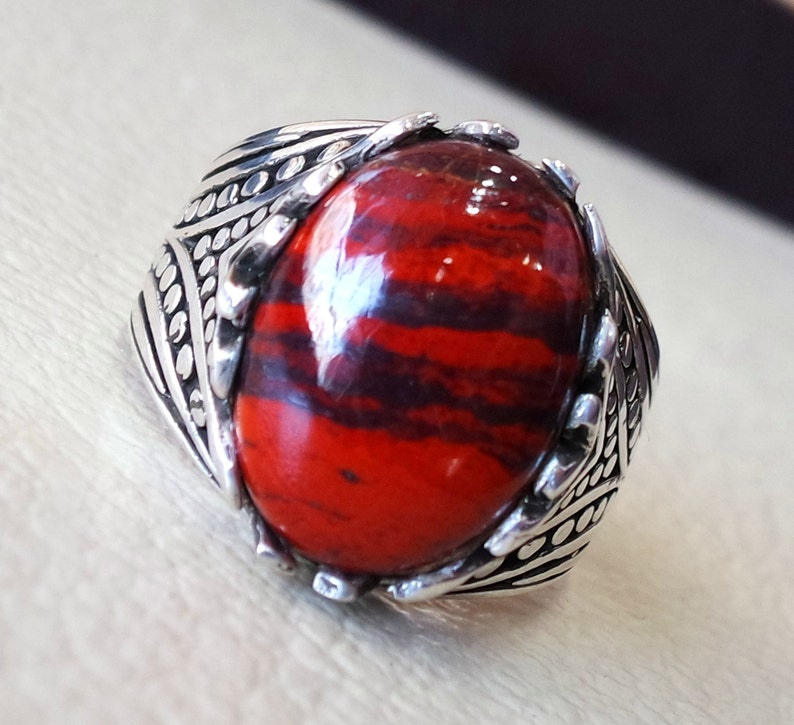 794590ab4810b snake skin jasper stone natural gem sterling silver 925 ring red and black  oval semi precious cabochon man ring turkey jewelry fast shipping