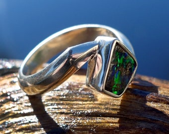 BOULDER OPAL RING in Sterling Silver - Size 6.5 (M)