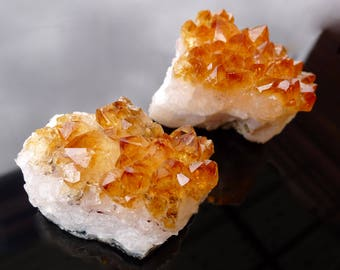 Set of 2 x CITRINE CRYSTAL CLUSTERS - from Brazil