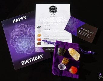 LEO ZODIAC CRYSTALS Set - Zodiac Crystal Kit, Healing Crystal Set, Leo Star Sign Gift