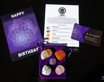 LIBRA ZODIAC CRYSTALS Set - Zodiac Crystal Kit, Healing Crystal Set, Libra Star Sign Gift