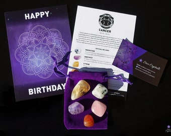 CANCER ZODIAC CRYSTALS Set - Zodiac Crystal Kit, Healing Crystal Set, Cancer Star Sign Gift