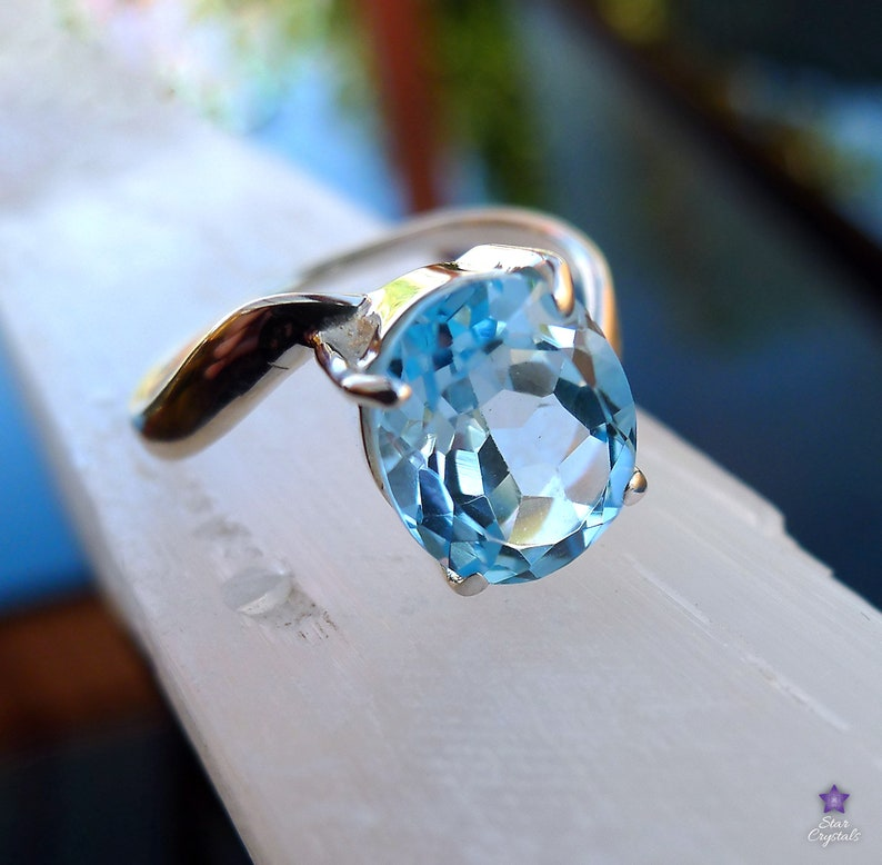 Size 9 BLUE TOPAZ RING in Sterling Silver S - Gem Wave Ring