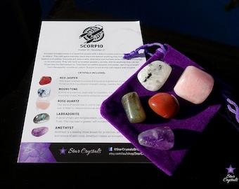 SCORPIO ZODIAC CRYSTALS Set - Zodiac Crystal Kit, Healing Crystal Set, Scorpio Star Sign Gift