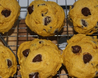Sugar Free Pumpkin Chocolate Chip Cookies - 22 Cookies, Homemade, Sugar Free, Pumpkin Cookies, Baked goods, Custom Cookies, teacher gift