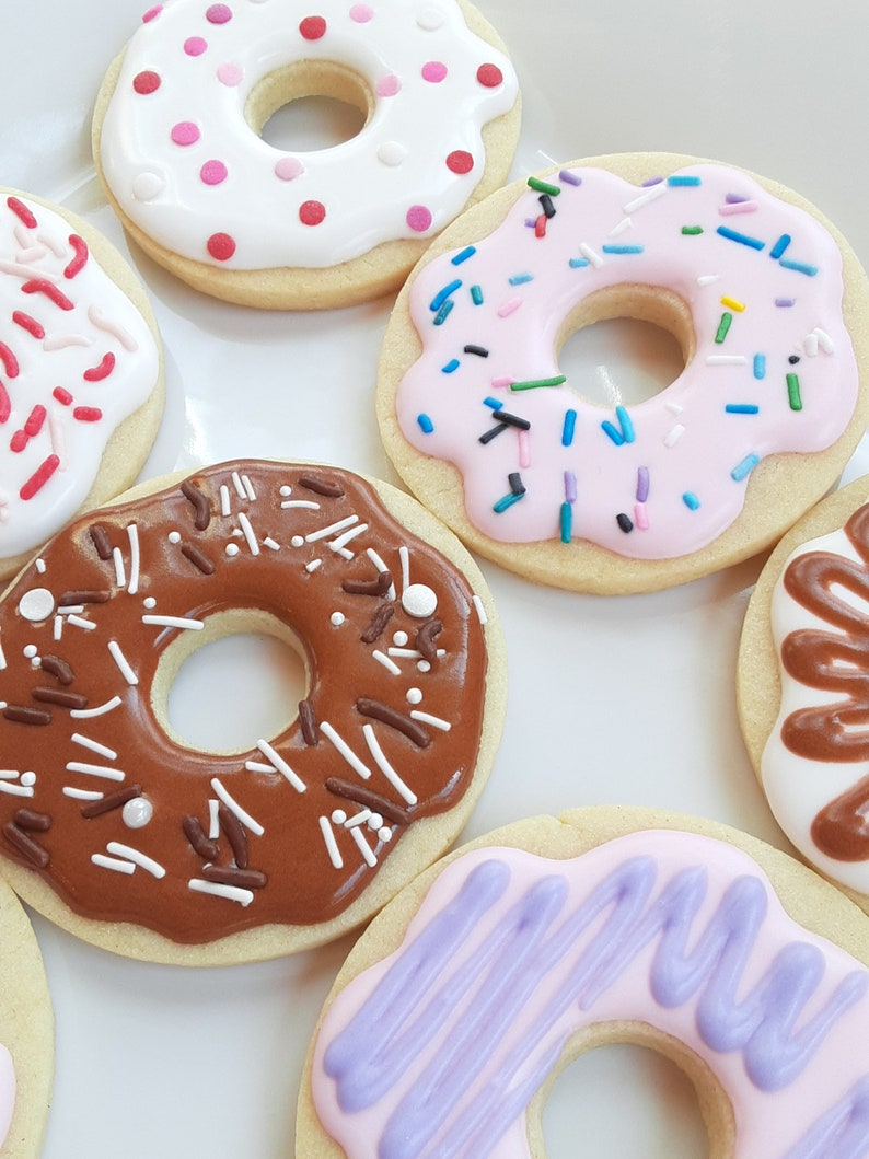 Donut Cookies  Donut Shaped Royal Icing Decorated Sugar image 0