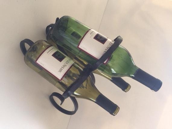 Wrought Iron Wine Bottle Holder Three Bottles Etsy