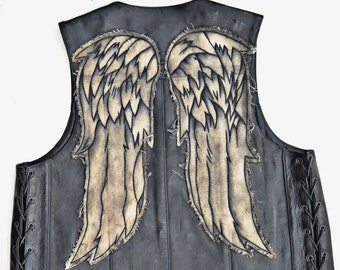 Season SEVEN Daryl Dixon Leather Angel Wing Vest - Brown Wings