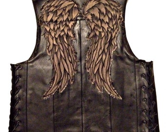 Daryl Dixon Leather Angel Wing Vest - Screen Accurate