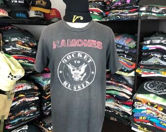 1e1b910c Vintage 80s 90s Ramones Band Tshirt Rocket To Russia Punk Rock