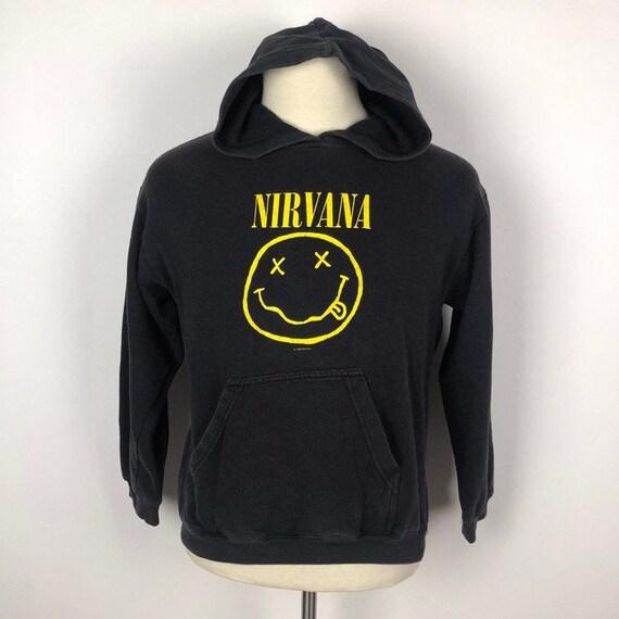 Vintage Nirvana Band Hoodie Smiley Face