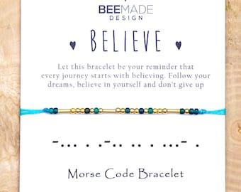 Believe Morse Code Stackable inspiration bracelet graduation gift inspirational her affirmation encouragement support gift for best friend