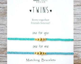 TWINS Christmas Gifts For Twin Sisters Twins Matching Bracelets 2 Birthday Gift Bracelet Sets