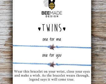 TWINS Valentines Gifts For Twin Sisters Wish Bracelets Birthday Gift Twins Matching Bracelet Jewelry