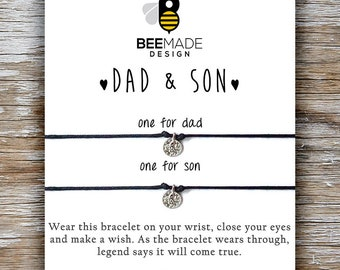 Father Son Bracelet Fathers Day Gift From Dad Matching Bracelets For 2 Gifts Birthday And