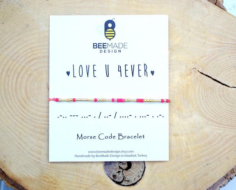 Love Morse Code Bracelet long distance relationship bracelet for women gift  for girlfriend boyfriend wife Birthday Gifts for husband crush