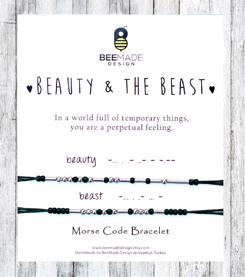 cf1c9145a4 Beauty and Beast Morse Code Bracelets Matching Couples   Etsy
