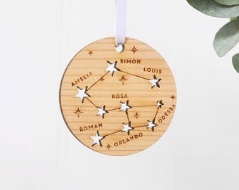 Family Constellation Christmas Tree Decoration Ornament Special family Christmas stars Family tree personalised xmas bauble cedar wood