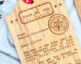 Santa telegram etsy babys first christmaswooden tag telegram decorationtelegram from father christmaspersonalised first christmas memento spiritdancerdesigns Choice Image