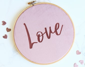 Velvet Love Wall Art Embroidery Hoop|Love quote|inspirational quote|typography|velvet wall hanging|Bedroom art|couple|engraving