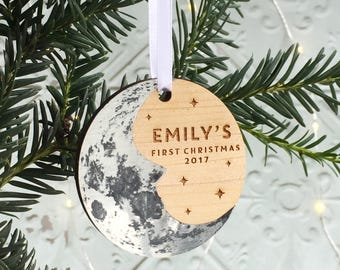 Baby's First Christmas Moon Tree Ornament. Personalised Christmas Decoration|Lunar stars new baby man in the moon|Silver wood Hygge Scandi