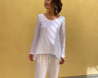 NEW MOON Top - Long sleeve cotton shirt - White Cotton Blouse - super soft cotton t shirt