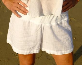 INDIAN SUMMER shorts - White Shorts - cotton shorts