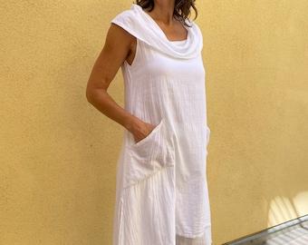 PERSEPHONE TOP - Cowl neck tunic dress - Natural cotton top - White cotton dress