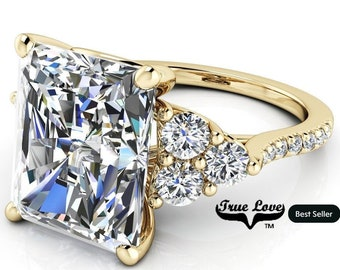 Moissanite Engagement Ring Radiant Cut  1.5,2.7,3.9,5.3 or 7 Carat Trek Quality #1 VVS Clarity DE Colorless or GH near Colorless 14 kt #8385