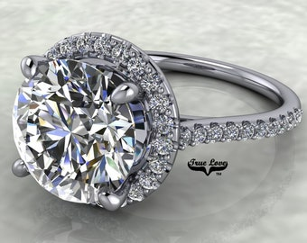 3 Carat Moissanite Engagement Ring Halo Round   from 1 up to 4 Carat 14 kt  White Gold  #8301