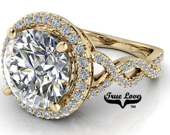 Moissanite Round Infinity-Inspired Halo-Style 14 Kt Yellow Engagement Ring #8416