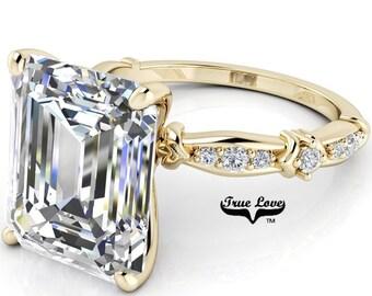 Emerald Cut Moissanite Engagement Ring . #7045