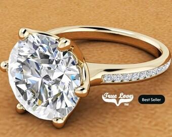 2 Carat Moissanite Engagement Ring Trek Quality #1,  14 kt Yellow Gold.  # 7032