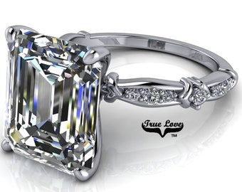 Emerald Cut Moissanite Engagement Ring  #7044