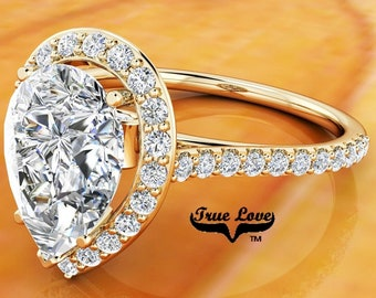 Moissanite Pear Shaped Engagement Ring Trek Quality #1 14 kt. Yellow Gold Halo and Side Moissanites  #6848
