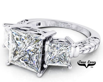 Princess Cut Moissanite Engagement Ring from 1.5 to 3 Carat 14 kt White Gold #6709