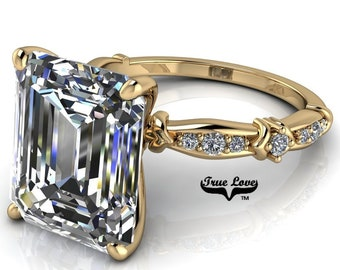 Emerald Cut Moissanite Engagement Ring . #7045