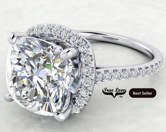 4 Carat  Moissanite Engagement Ring Halo Cushion Cut  from 1.75 up to 5 Carat 14 kt  White Gold  #8378