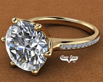 Moissanite Engagement Ring Trek Quality #1,  14 kt Yellow Gold.  # 7032