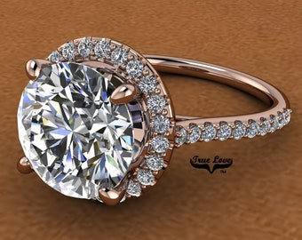 4 Carat Moissanite Engagement Ring Halo Round   from 1 up to 4 Carat 14 kt  Rose Gold #8303