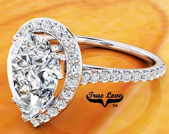 Moissanite Pear Shaped Engagement Ring Trek Quality #1 Platinum Halo and Side Moissanites  #6846P