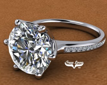 5 Carat Moissanite Engagement Ring  , Trek Quality  #1 Platinum   #6733P