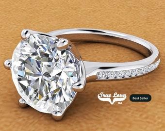 3 Carat Moissanite Engagement Ring  , Trek Quality  #1 - 14 kt White Gold   #6733
