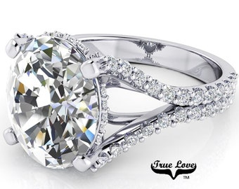 Moissanite Engagement ring Trek Quality #1, VVS clarity, D-E colorless or G-H near colorless set in 14kt White gold #8367.