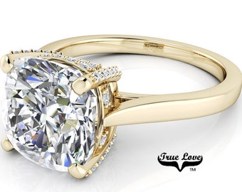 Cushion Cut Moissanite Engagement Ring Trek Quality #1, VVS clarity, D-E colorless or G-H near colorless set in 14kt Yellow gold #7034.
