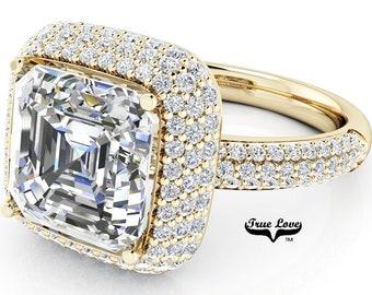 Moissanite Engagement Ring 14kt Yellow Gold, Trek Quality #1, Wedding Ring, Halo, Side Moissanites, Pave Set #7095